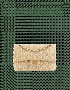 Chanel Beige Braided Canvas Classic Flap Medium Bag