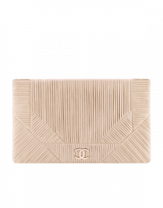 Chanel Beige Coco Pleats Clutch Bag