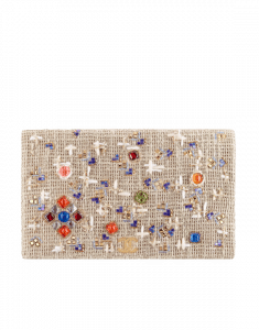 Chanel Beige Embroidered Canvas Clutch Bag
