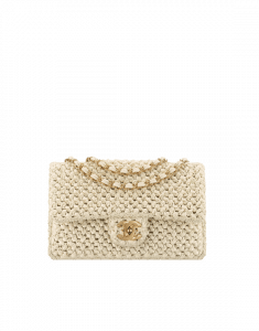 Chanel Beige Crochet Classic Flap Medium Bag