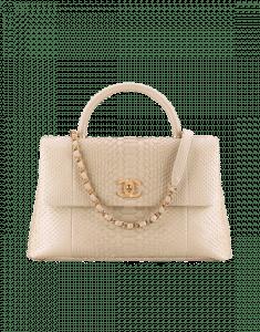 Chanel Beige Python Coco Handle Medium Bag