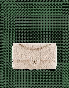 Chanel Beige/Ecru Tweed Classic Flap Medium Bag