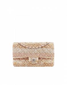 Chanel Beige/Ecru/Pink Knit Classic Flap Medium Bag