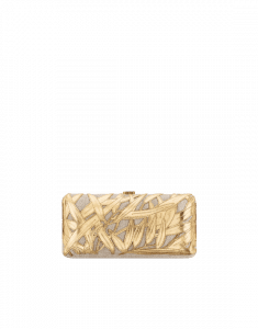 Chanel Beige/Gold Embroidered Crumpled Metallic Lambskin Evening in Greece Bag