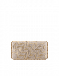 Chanel Beige/Gold Pleated Toile Embroidered Lambskin Evening in Greece Bag