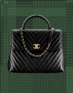 Chanel Black Calfskin Coco Handle Large Bag