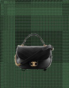 Chanel Black Chevron Calfskin Flap Bag