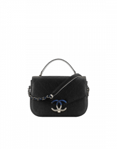 Chanel Black Grained Calfskin Flap with Top Handle Bag
