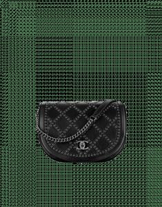 Chanel Black Coco Eyelets Large Flap Bag