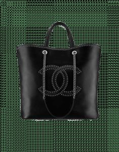 Chanel Black Coco Eyelets Large Shopping Bag