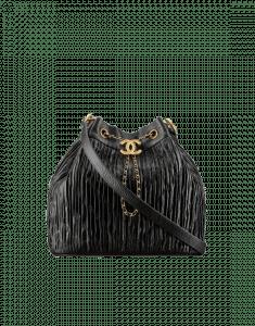 Chanel Black Coco Pleats Drawstring Bag
