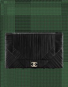Chanel Black Coco Pleats Large Clutch Bag