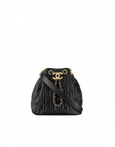 Chanel Black Coco Pleats Mini Drawstring Bag
