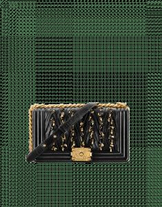 Chanel Black Embroidered Pleated Calfskin Boy Chanel Old Medium Flap Bag