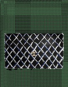 Chanel Black Printed Lambskin Clutch Bag