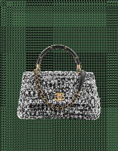 Chanel Black/Beige Crochet/Lambskin Coco Handle Small Bag