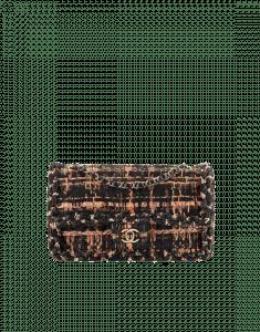 Chanel Black/Brown/Orange Tweed/Braid Classic Flap Medium Bag