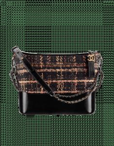 Chanel Black/Brown/Orange Tweed/Calfskin Gabrielle Medium Hobo Bag