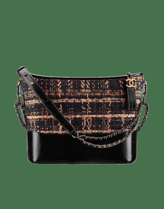e14904189002 Chanel Black Brown Orange Tweed Calfskin Gabrielle Medium Hobo Bag