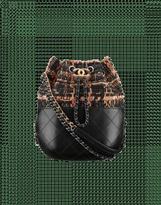 Chanel Black/Brown/Orange Tweed/Calfskin Gabrielle Purse Bag