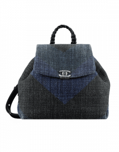 Chanel Black/Navy Blue Printed Canvas Braided with Style Backpack Bag
