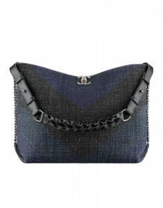 Chanel Black/Navy Blue Printed Canvas Braided with Style Hobo Bag