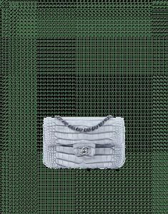 Chanel Blue Alligator Classic Flap Mini Rectangular Bag
