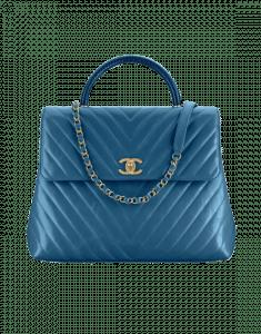 Chanel Blue Calfskin/Lizard Coco Handle Large Bag