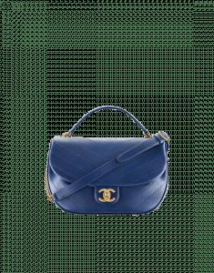 Chanel Blue Chevron Calfskin Medium Flap Bag