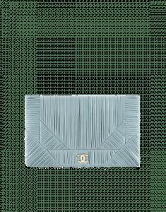 Chanel Blue Coco Pleats Small Clutch Bag