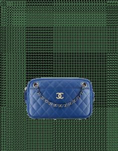 Chanel Blue Lambskin Camera Case Bag