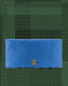 Chanel Blue Quilted Calfskin Greek Clutches Clutch Bag