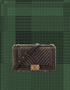 Chanel Brown Chevron Boy Braided Old Medium Flap Bag