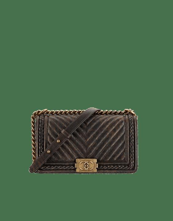 3a6d79f61d30 Chanel Brown Chevron Boy Braided Old Medium Flap Bag