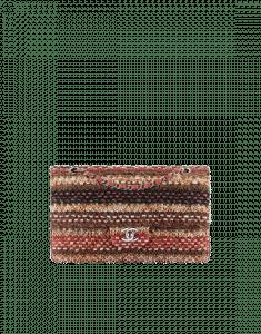 Chanel Brown/Red/Black Knit Classic Flap Medium Bag