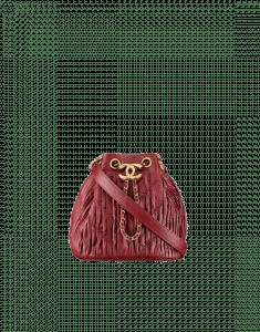 Chanel Burgundy Coco Pleats Mini Drawstring Bag
