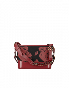 Chanel Burgundy/Black Knit/Calfskin Gabrielle Small Hobo Bag