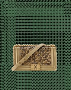 Chanel Gold Metallic Braided Boy Chanel Old Medium Flap Bag