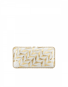 Chanel Gold/White Pleated Calfskin/Embroidered Lambskin Evening in Greece Bag
