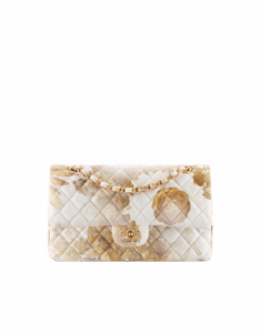 Chanel Gold/White Printed Denim Classic Flap Medium Bag