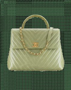 Chanel Green Calfskin/Lizard Coco Handle Large Bag