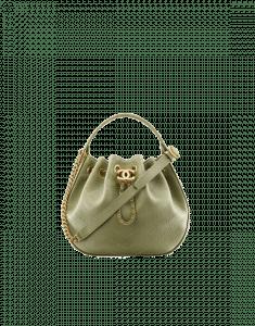 Chanel Green Chevron Calfskin Drawstring Bag