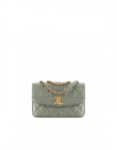 Chanel Green Lambskin Small Flap Bag