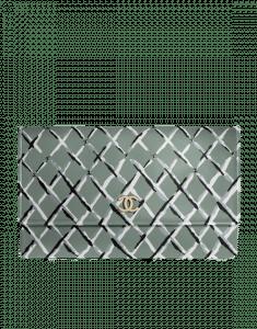 Chanel Green Printed Lambskin Clutch Bag