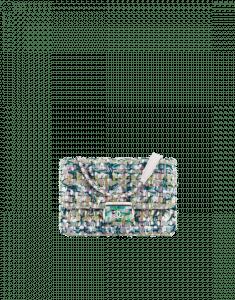 Chanel Green/White/Pink Tweed/Lambskin Beauty Lock Flap Bag
