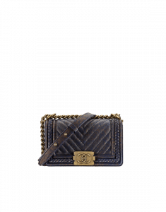 Chanel Navy Blue Chevron Boy Braided Small Flap Bag