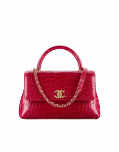 Chanel Red Alligator Coco Handle Small Bag