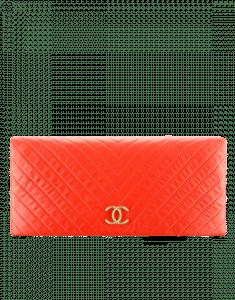 Chanel Red Chevron Calfskin Greek Clutches Clutch Bag