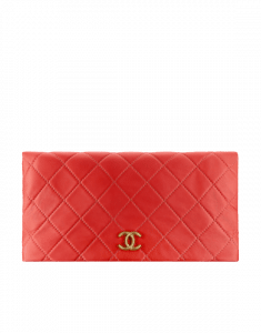 Chanel Red Quilted Calfskin Greek Clutches Clutch Bag