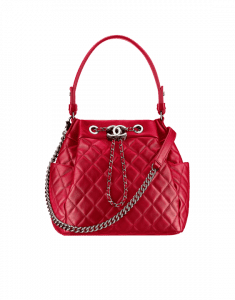 Chanel Red Quilted Lambskin Drawstring Bag